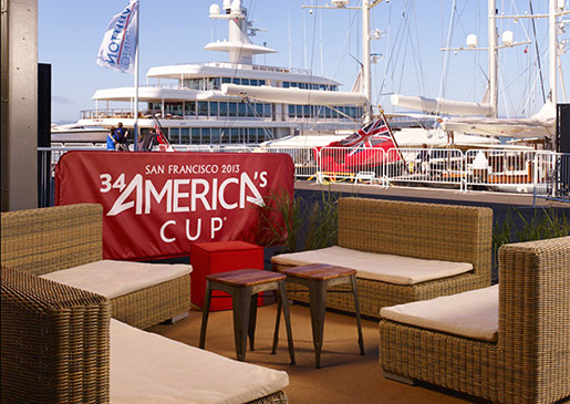 A dining area at the 2013 San Francisco America's Cup.