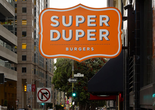 Super Duper Burgers' outdoor sign in San Francisco.